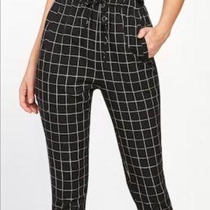 Pants - Black and White Striped Jogger Pants